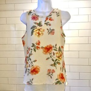 Flowing tank style blouse in cream with flowers